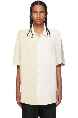 SONG FOR THE MUTE Off-White & Beige Cupro Short Sleeve Shirt
