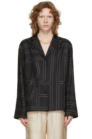 Totême Women Pajamas - Black Silk Monogram PJ Shirt