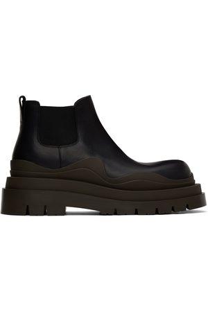 Bottega Veneta Black & Green Tire Chelsea Boots