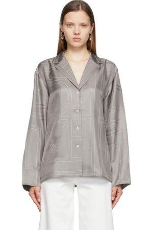Totême Women Pajamas - Grey Silk Monogram PJ Shirt