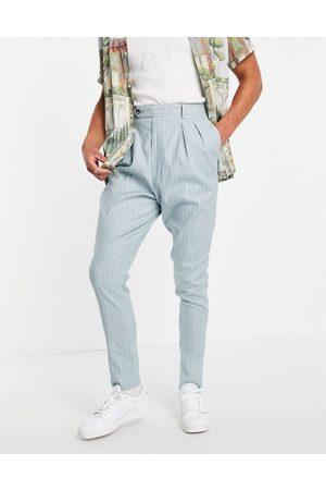 ASOS High waist slim smart pants in mint pin stripe linen