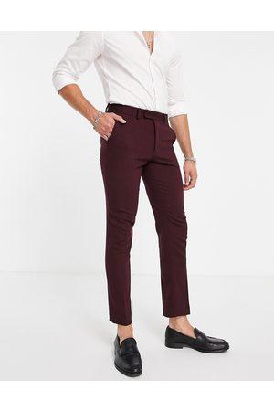ASOS Wedding skinny wool mix suit pants in burgundy herringbone
