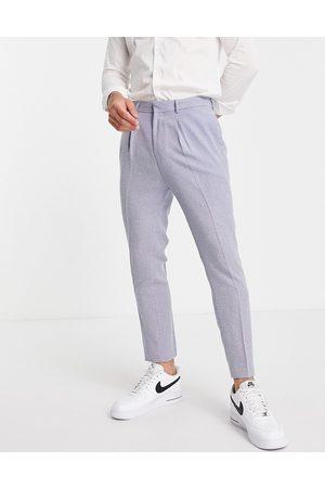 ASOS Tapered suit pants with mini herringbone nepp in blue-Blues