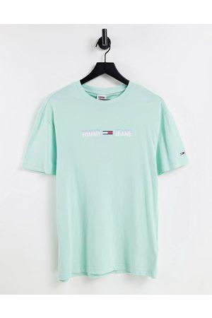 Tommy Hilfiger Men T-shirts - Pastel Collection linear logo T-shirt in aqua coast