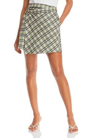 LINE & DOT Lisa Plaid Wrap Mini Skirt