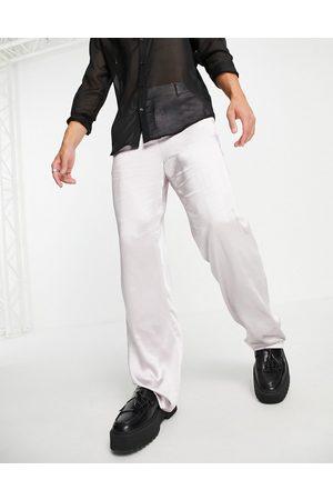 ASOS Men Wide Leg Pants - Satin wrap detailing wide leg suit pants in