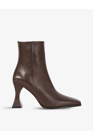 The Kooples Square-toe sculptural-heel leather ankle boots