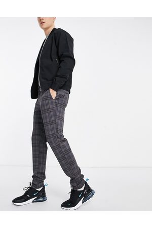 Only & Sons Slim tapered fit checked pants in -Grey