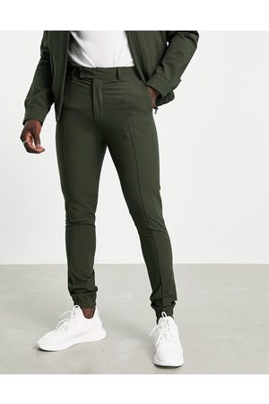 ASOS Men Chinos - Smart skinny pants with elastic cuff in seersucker
