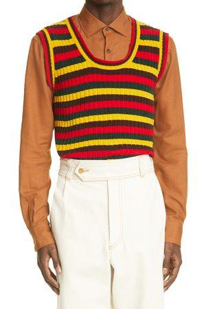 WALES BONNER Men's Brixton Stripe Knit Stretch Cotton Vest