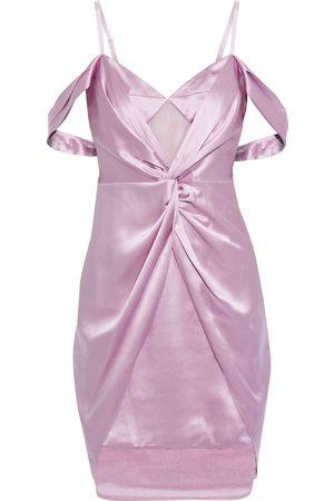 FLEUR DU MAL Women Party Dresses - Woman Cold-shoulder Twist-front Silk-satin And Mesh Mini Dress Lavender Size 0