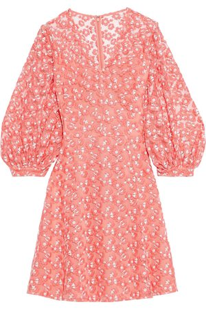 LELA ROSE Women Party Dresses - Woman Embroidered Tulle Dress Coral Size 6
