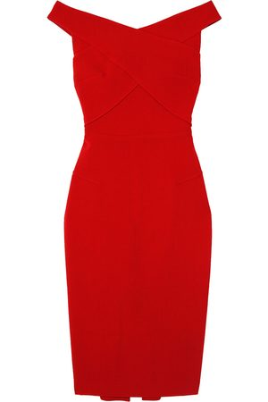 Roland Mouret Women Strapless Dresses - Woman Amarula Off-the-shoulder Wool-crepe Midi Dress Size 12