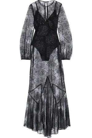 FLEUR DU MAL Women Maxi Dresses - Woman Metallic Embroidered Tulle Maxi Dress Size 0