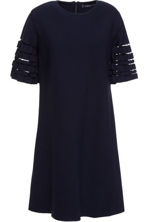 LELA ROSE Women Party Dresses - Woman Cutout Pleated Knitted Mini Dress Navy Size S