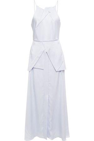 Roland Mouret Woman Pleated Hammered Silk-satin Midi Dress Sky Size 10