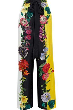 Oscar de la Renta Women Wide Leg Pants - Woman Floral-print Silk-satin Wide-leg Pants Size 6