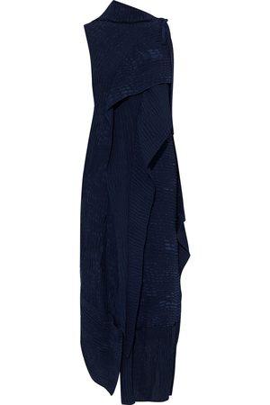 Roland Mouret Woman Frye Asymmetric Draped Silk-cloqué Midi Dress Navy Size 10