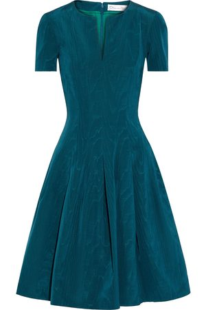 Oscar de la Renta Women Midi Dresses - Woman Flared Pleated Cotton-blend Moire Dress Petrol Size 0