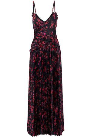 Ml Monique Lhuillier Women Printed Dresses - Woman Wrap-effect Pleated Floral-print Satin Maxi Slip Dress Size 10