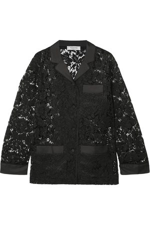 VALENTINO Women Long sleeves - Woman Satin-trimmed Cotton-blend Corded Lace Shirt Size 40