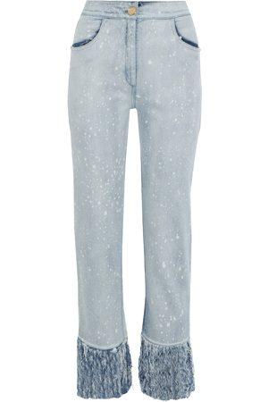 Balmain Women High Waisted - Woman Fringed Bleached High-rise Straight-leg Jeans Light Denim Size 36