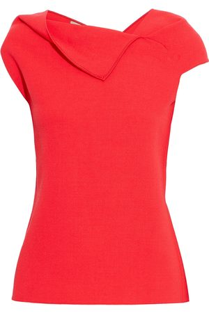 Roland Mouret Women Tops - Woman Raywell Tie-back Pleated Wool-crepe Top Tomato Size 10