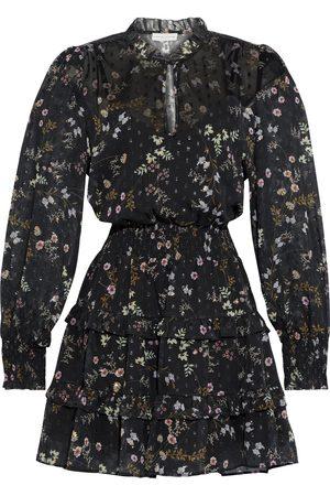 Ml Monique Lhuillier Women Printed Dresses - Woman Tiered Shirred Floral-print Fil Coupé Chiffon Mini Dress Size 10