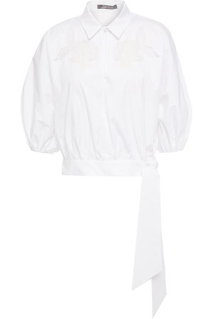 LELA ROSE Women Short sleeves - Woman Cropped Tie-front Broderie Anglaise-trimmed Cotton-blend Poplin Shirt Size 0