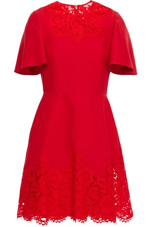 VALENTINO Women Party Dresses - Woman Corded Lace-paneled Wool And Silk-blend Crepe Mini Dress Size 38