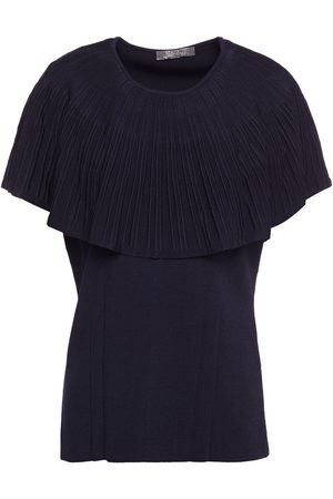 LELA ROSE Women Tops - Woman Layered Pleated Knitted Top Navy Size M