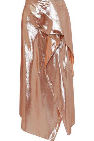 Roland Mouret Women Midi Skirts - Woman Courtown Draped Silk-blend Lamé Midi Skirt Rose Size 10