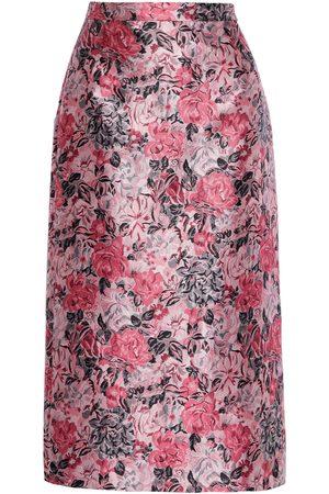 Erdem Women Midi Skirts - Woman Maira Floral-jacquard Midi Skirt Size 10