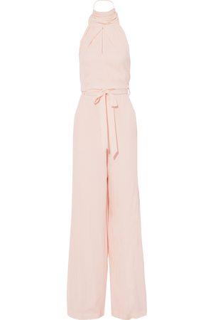 Roland Mouret Woman Crossbill Belted Silk-cloqué Halterneck Wide-leg Jumpsuit Pastel Size 10