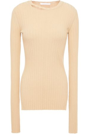 Helmut Lang Women Sweaters - Woman Distressed Ribbed Cotton-blend Sweater Sand Size M