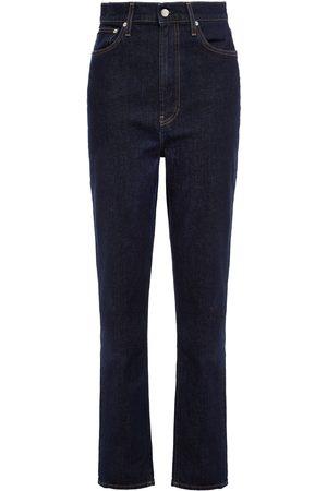 Helmut Lang Women High Waisted - Woman High-rise Straight-leg Jeans Dark Denim Size 24