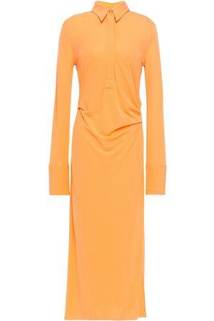 Helmut Lang Women Casual Dresses - Woman Draped Stretch-knit Midi Shirt Dress Pastel Size S