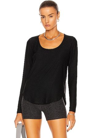 Beyond Yoga Scooped Long Sleeve Pullover Top in Black