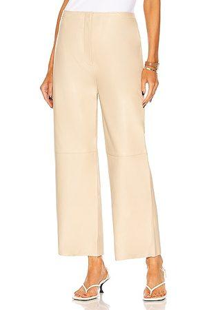 Totême Wide Leather Trouser in Beige