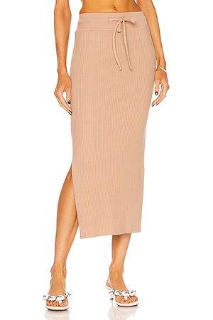 THE RANGE Drawstring Midi Skirt in Tan