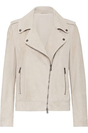 Brunello Cucinelli Women Leather Jackets - Suede biker jacket