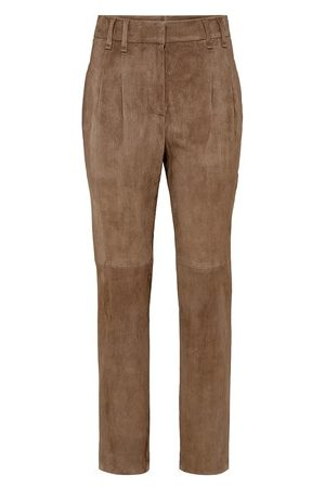 Brunello Cucinelli Women Leather Pants - Suede trousers