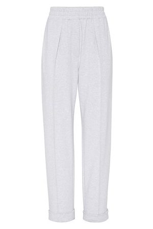 Brunello Cucinelli Women Straight Leg Pants - Lightweight French terry trousers