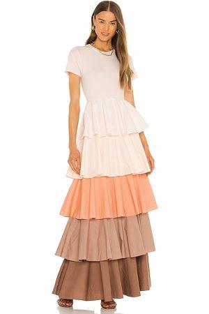 Something Navy Alexandra Tiered Ruffle Dress in Blush.
