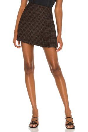 ALICE+OLIVIA Semira Pleated Mini Skirt in Brown.