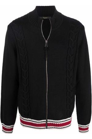 BILLIONAIRE Men Sweatshirts - Stripe-pattern full-zip sweater
