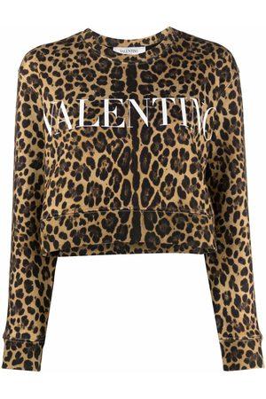 VALENTINO Women Sweatshirts - Leopard-print cotton sweatshirt