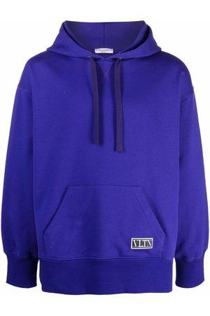 VALENTINO Men Hoodies - VLTN patch cotton hoodie