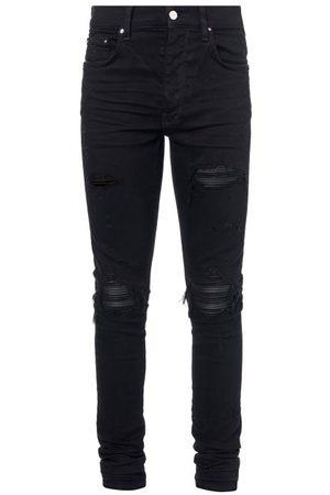 AMIRI Mx1 Distressed Leather-panelled Slim-leg Jeans - Mens