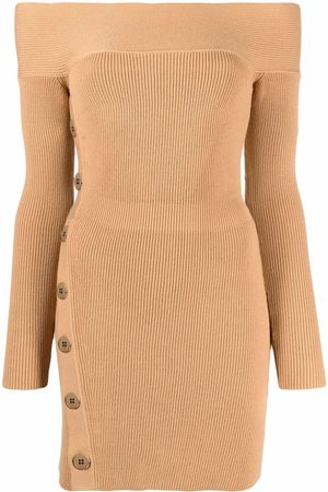 Elisabetta Franchi Women Party Dresses - Ribbed-knit mini dress - Neutrals